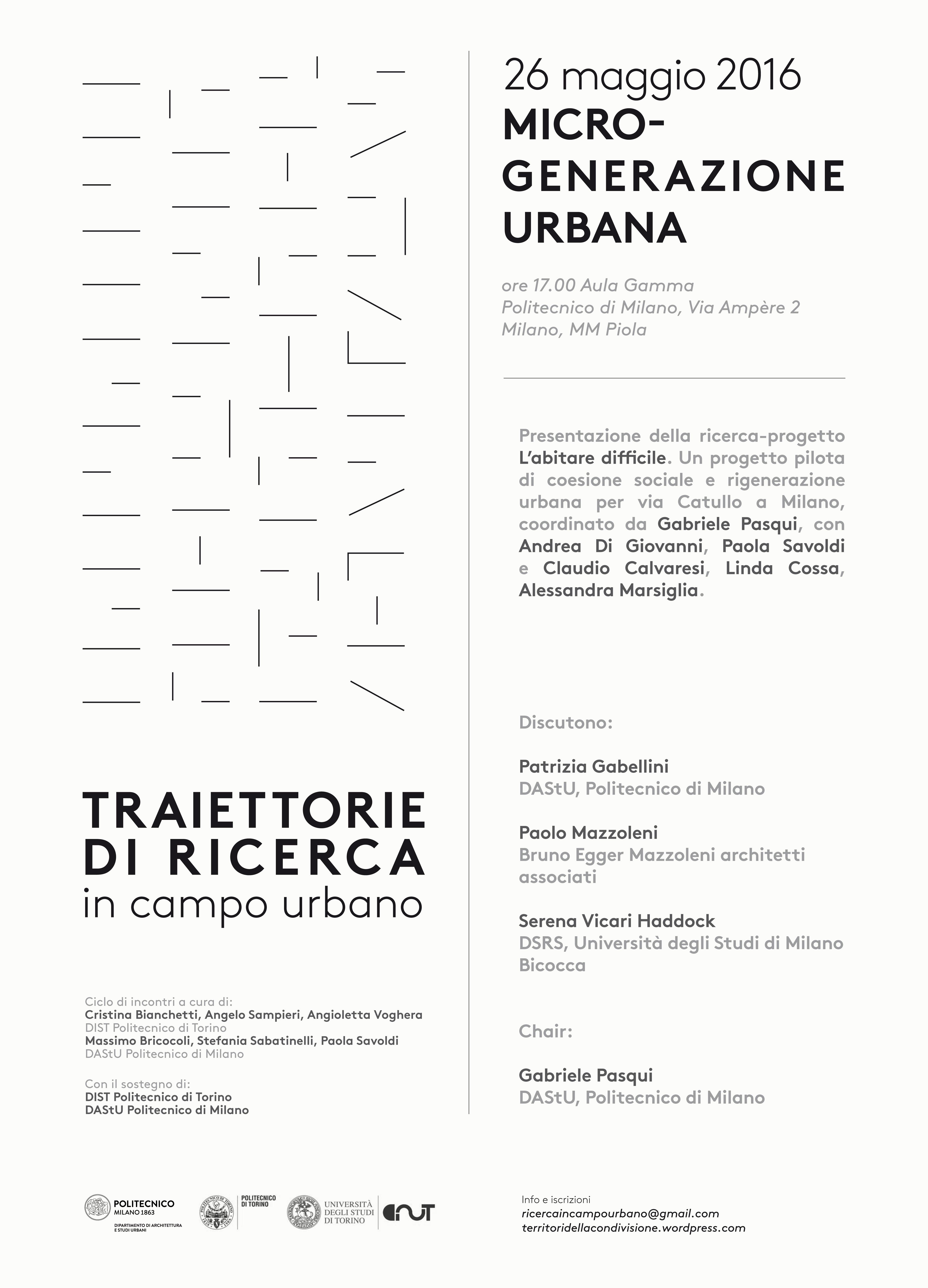 Traiettorie di Ricerca in Campo Urbano - programma incontro 26 maggio 2016